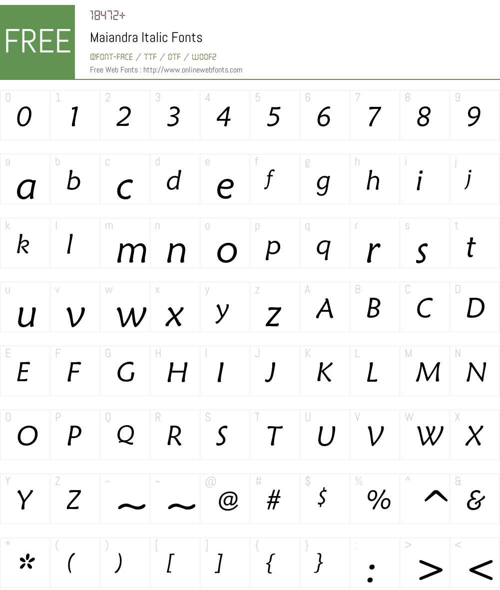 Maiandra Italic Font Screenshots
