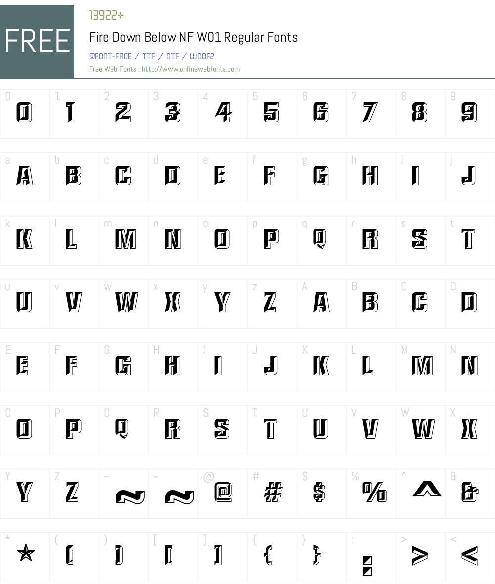 FireDownBelowNFW01-Regular Font Screenshots