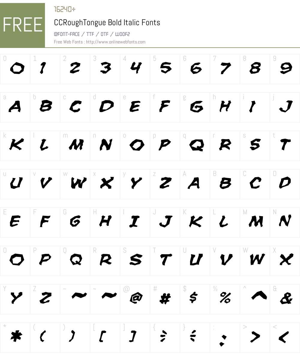 CCRoughTongue-BoldItalic Font Screenshots