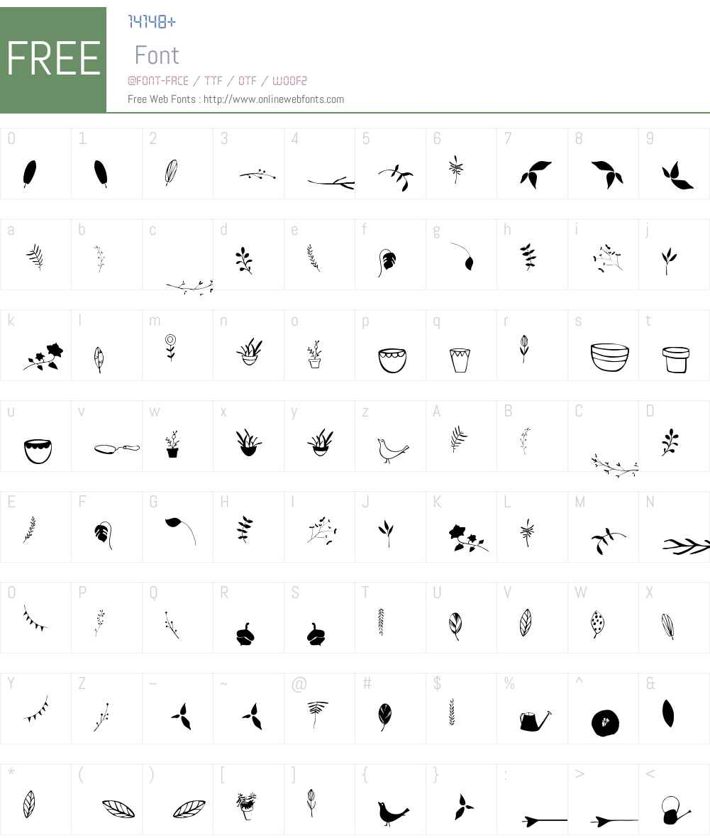 GardenW95-Dingbats Font Screenshots