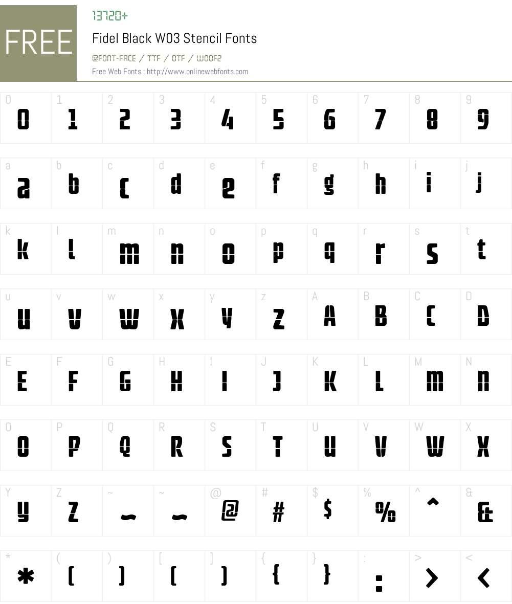FidelBlackW03-Stencil Font Screenshots