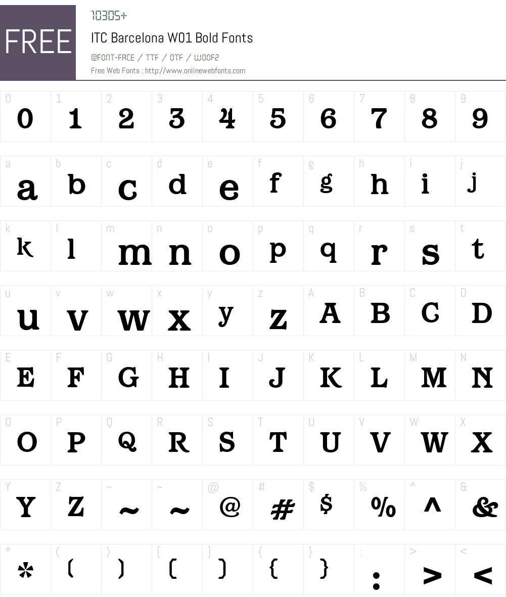 ITCBarcelonaW01-Bold Font Screenshots