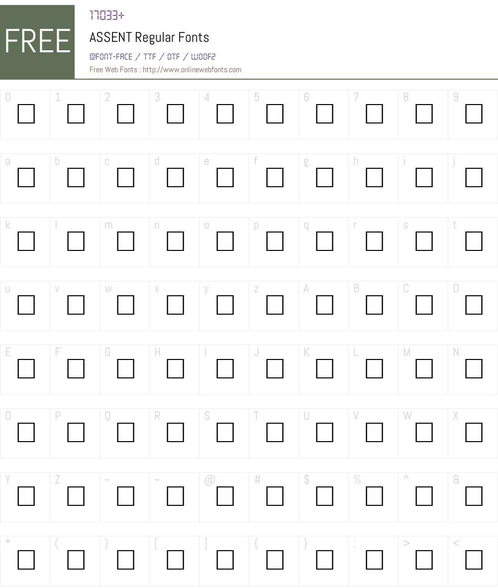 ASSENT Font Screenshots