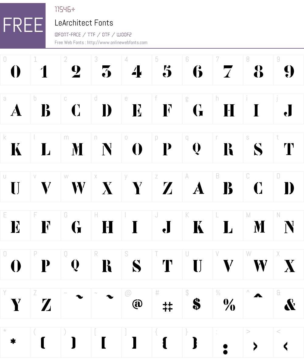 LeArchitect Font Screenshots