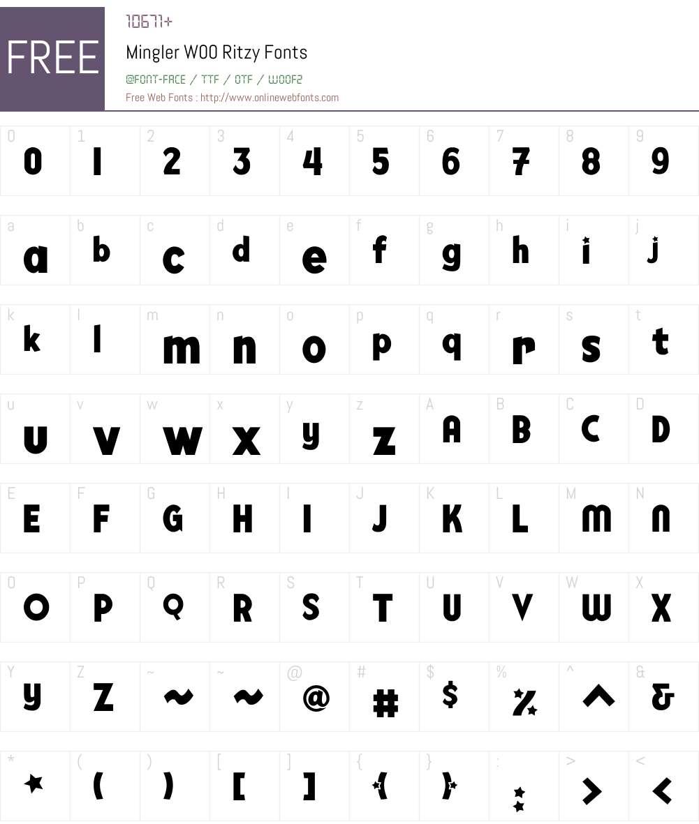 MinglerW00-Ritzy Font Screenshots