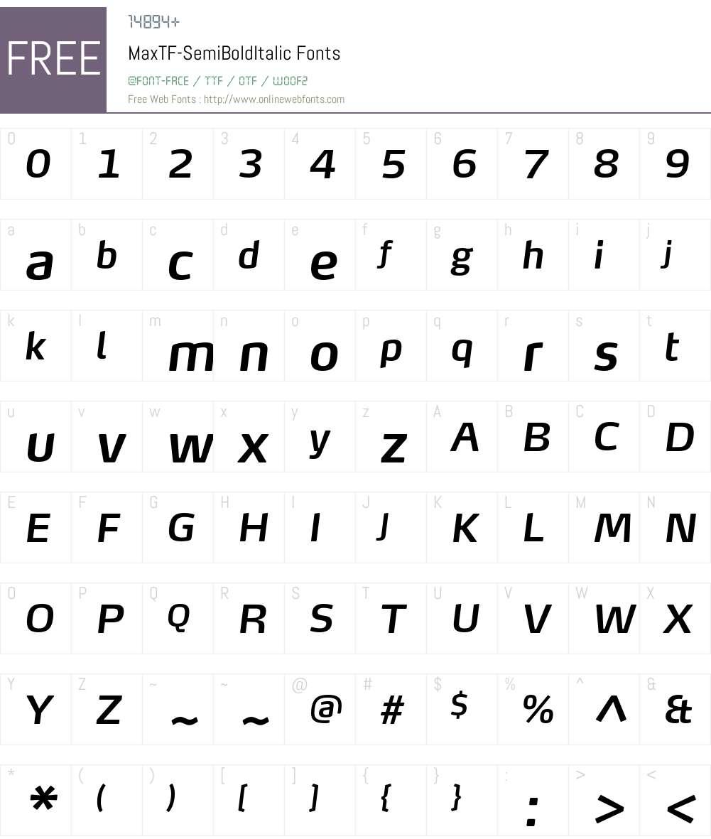 MaxTF-SemiBoldItalic Font Screenshots
