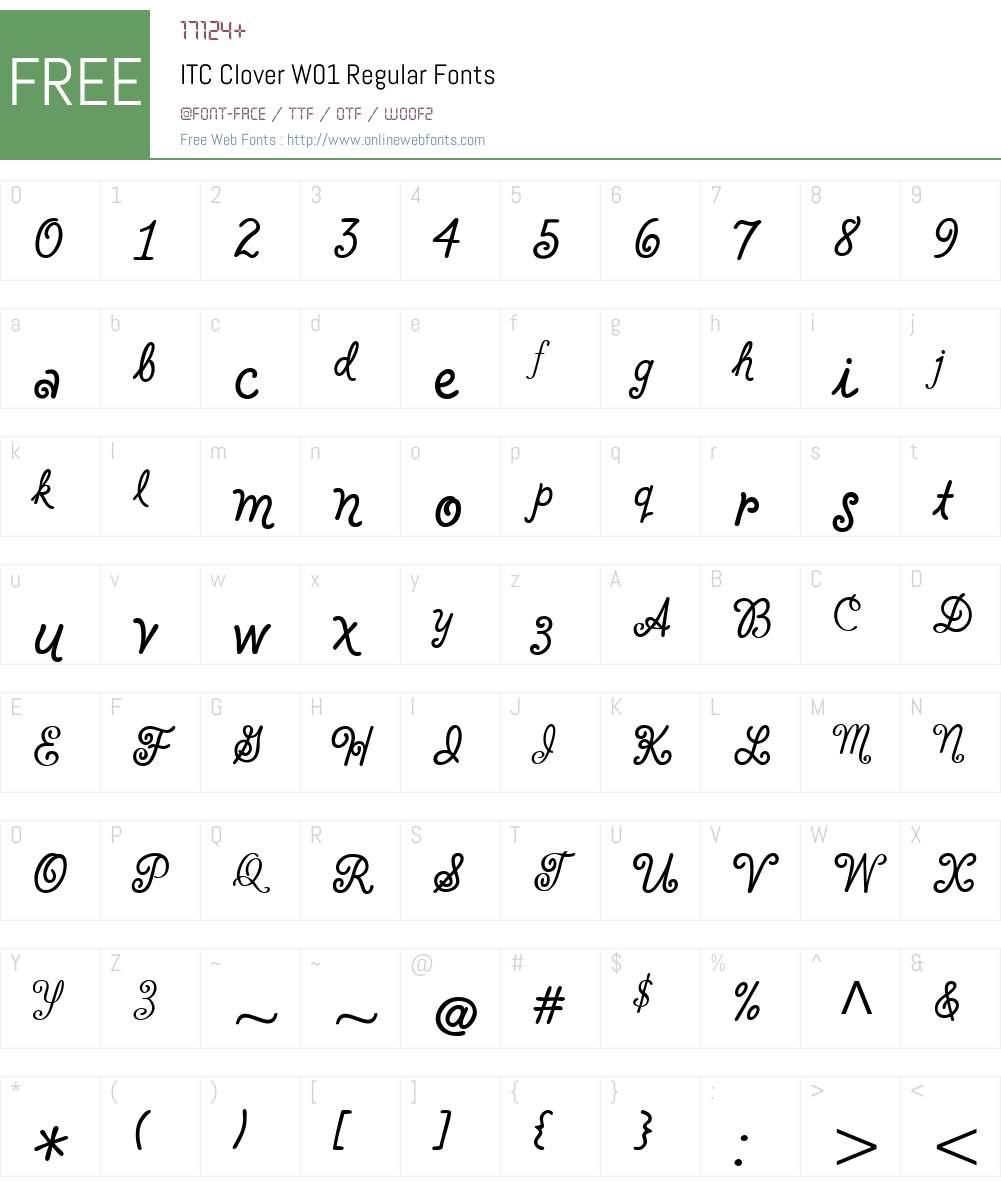 ITCCloverW01-Regular Font Screenshots