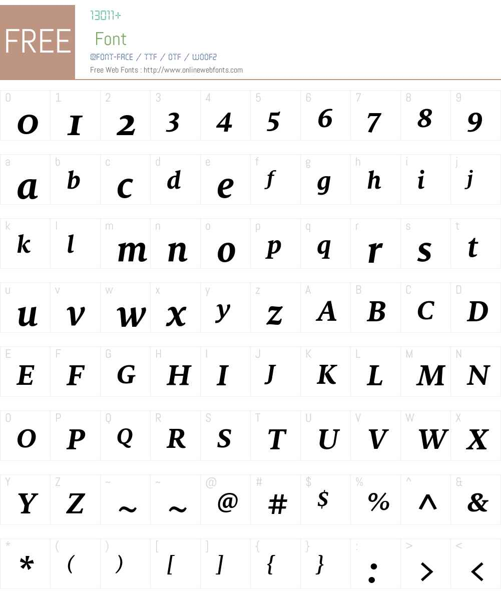 MiloSerifOT-BoldIta Font Screenshots