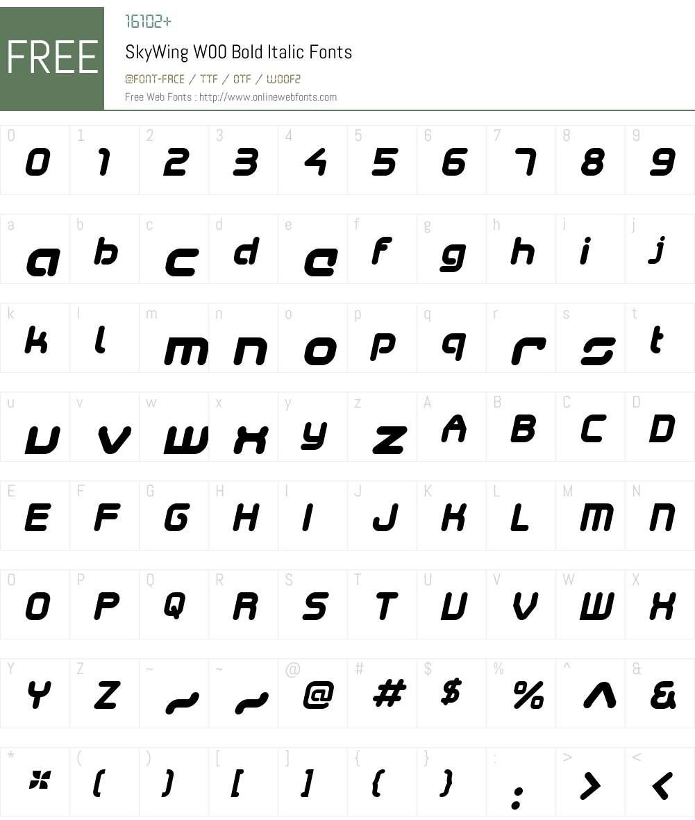 SkyWingW00-BoldItalic Font Screenshots