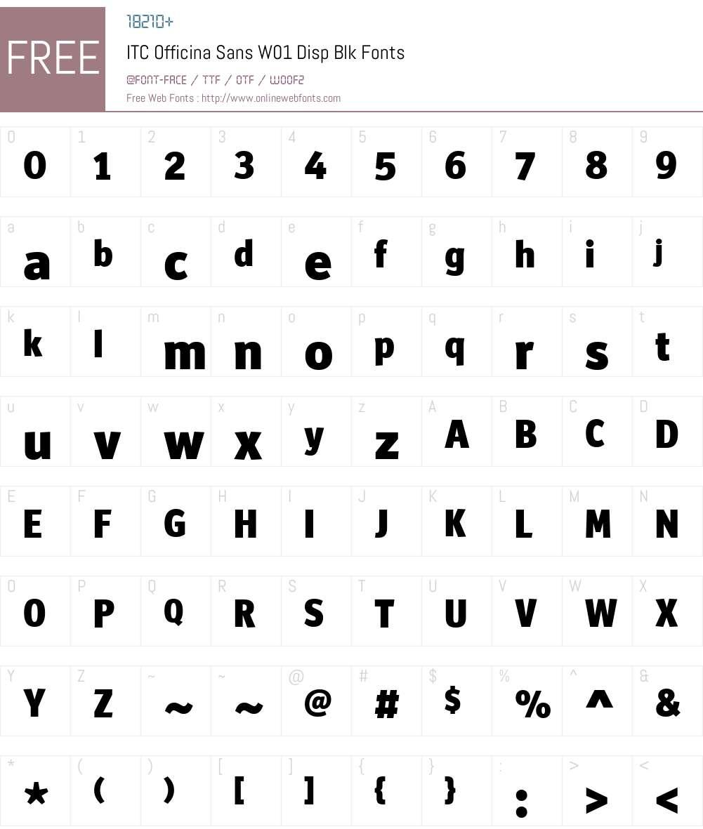 ITCOfficinaSansW01-DispBlk Font Screenshots