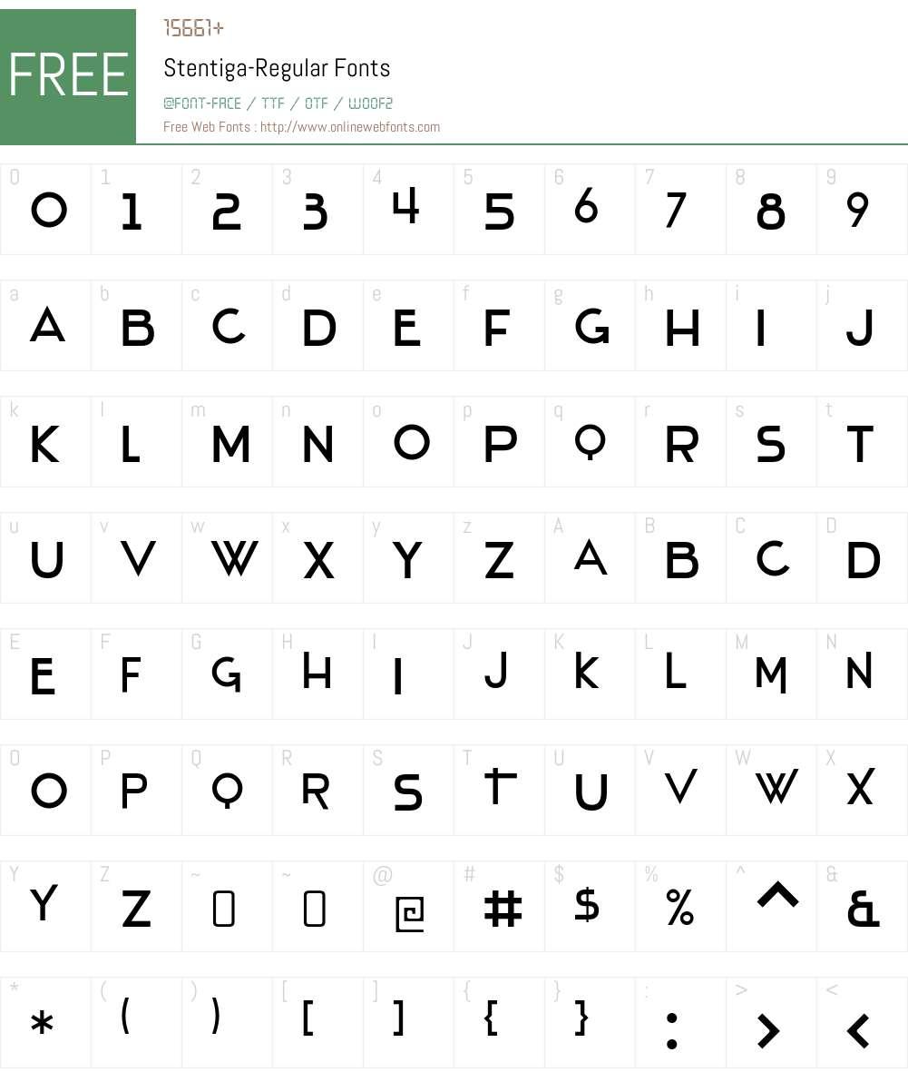 Stentiga Font Screenshots