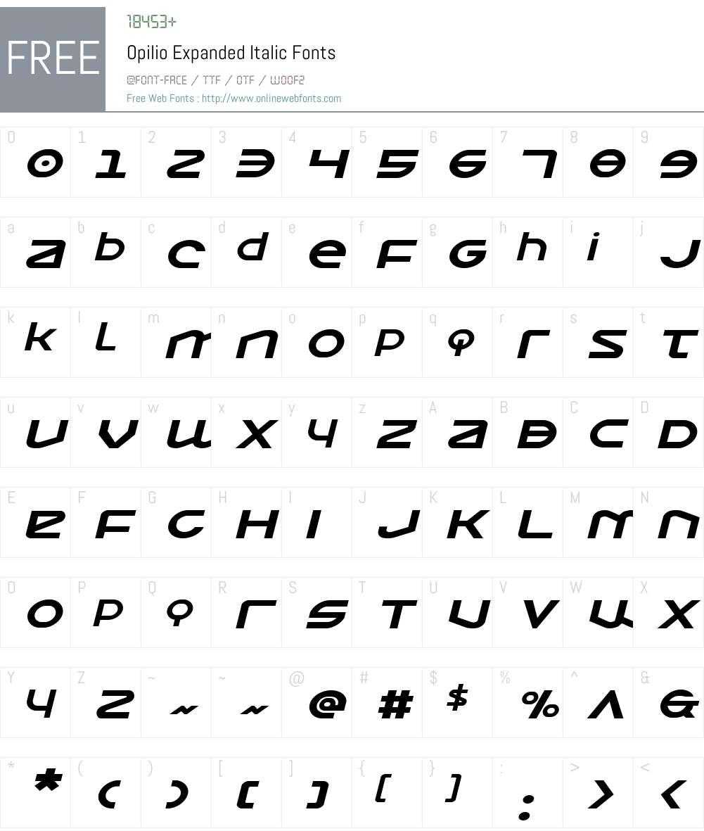 Opilio Expanded Italic Font Screenshots