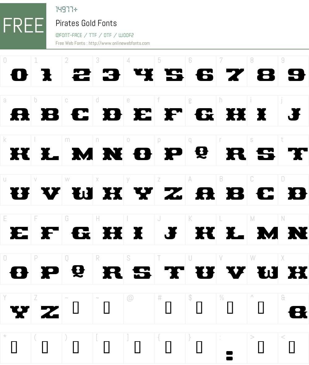 Pirates Gold Font Screenshots