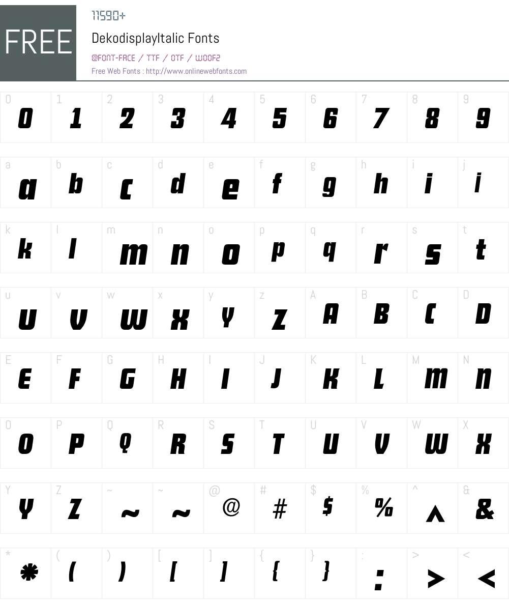 DekodisplayItalic Font Screenshots