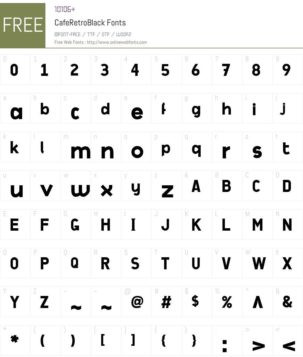 CafeRetroW00-Black Font Screenshots