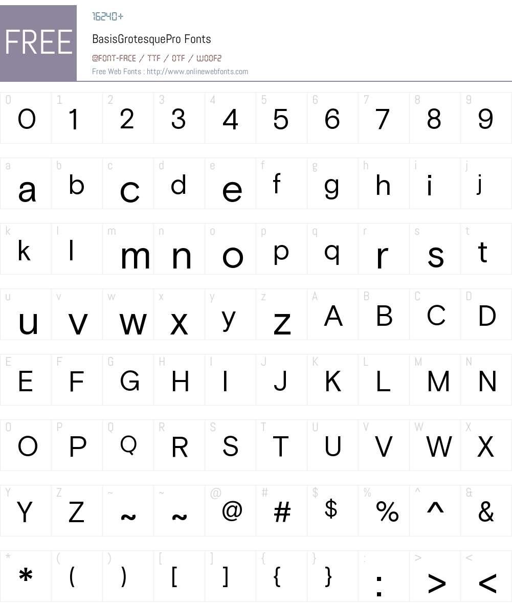 Basis Grotesque Pro Font Screenshots