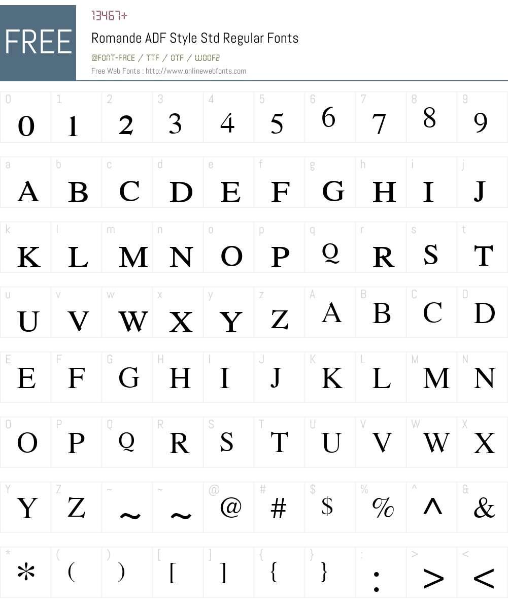 Romande ADF Style Std Font Screenshots