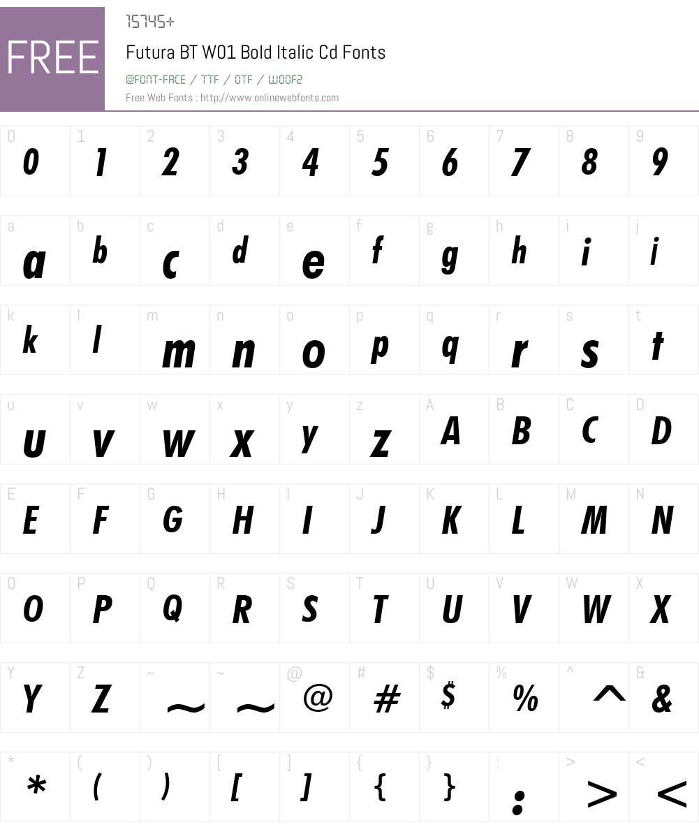 FuturaBTW01-BoldItalicCd Font Screenshots