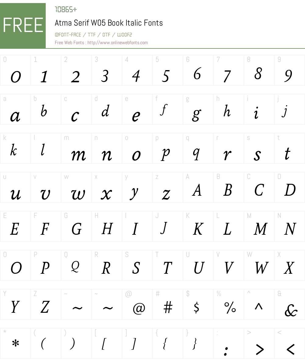 AtmaSerifW05-BookItalic Font Screenshots