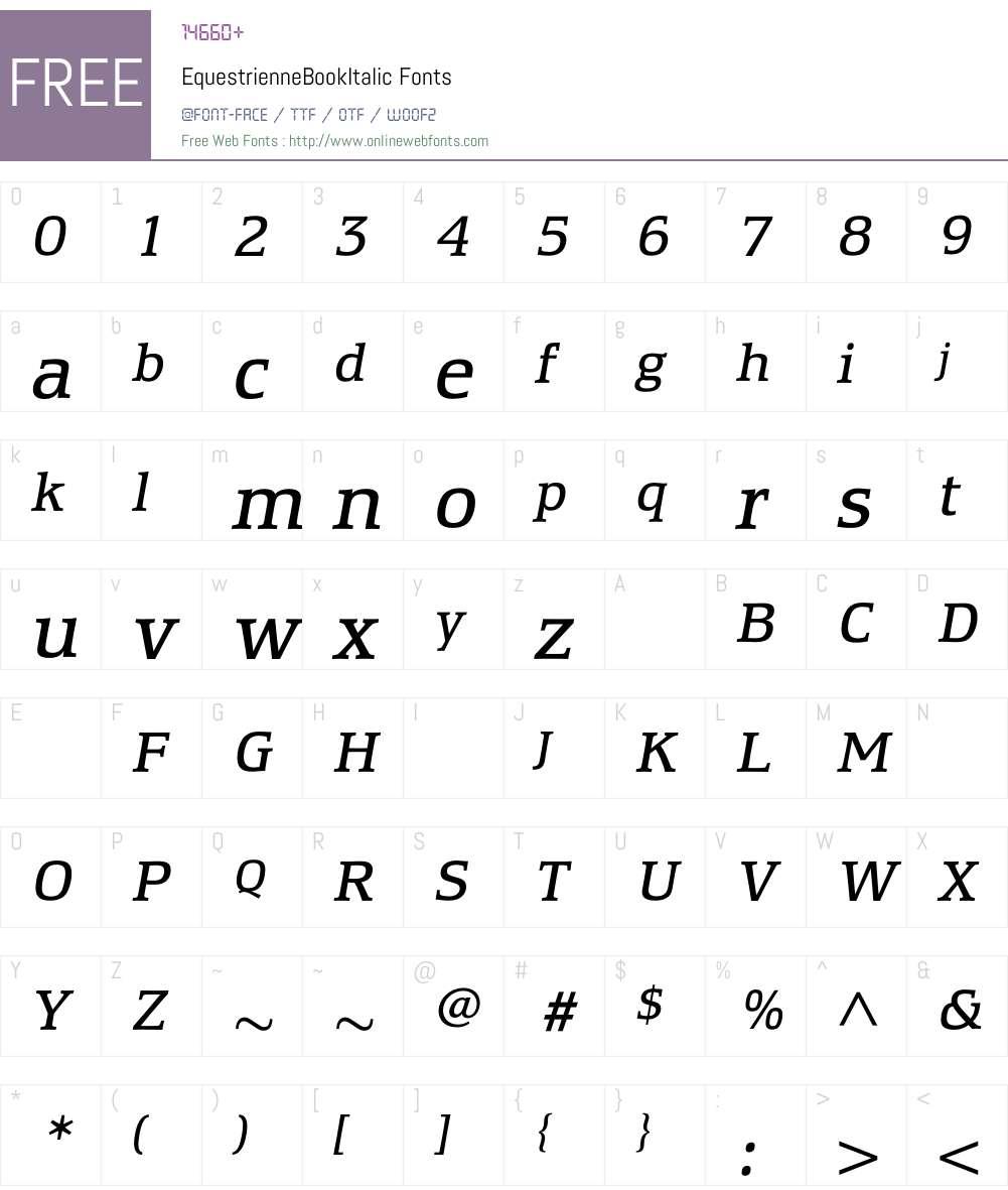 EquestrienneBookItalic Font Screenshots