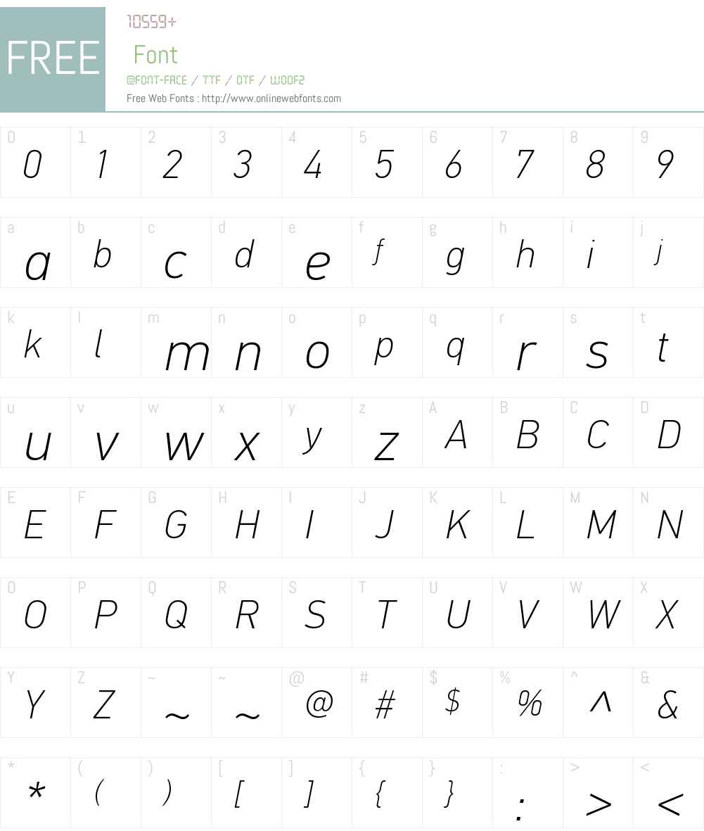 PFDinTextW01-ThinItalic Font Screenshots