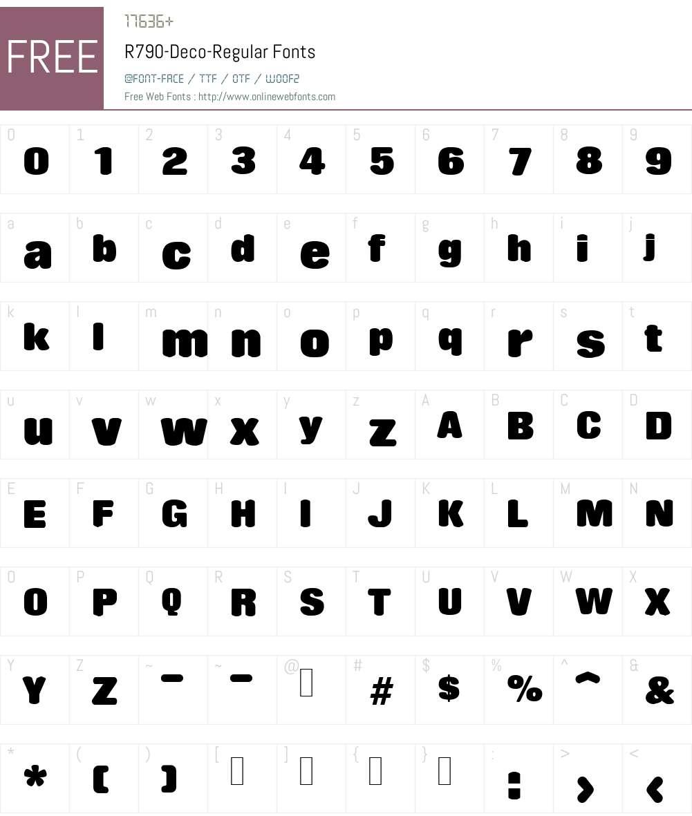 R790-Deco Font Screenshots