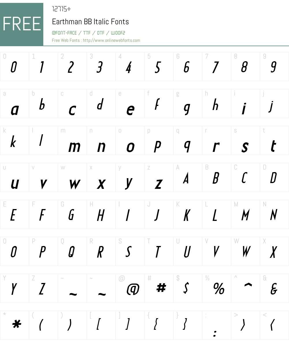 EarthmanBB-Italic Font Screenshots