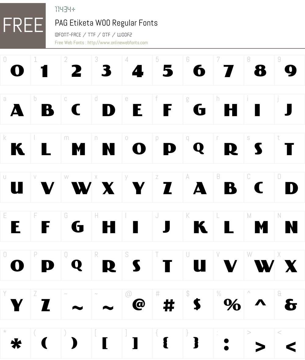 PAGEtiketaW00-Regular Font Screenshots