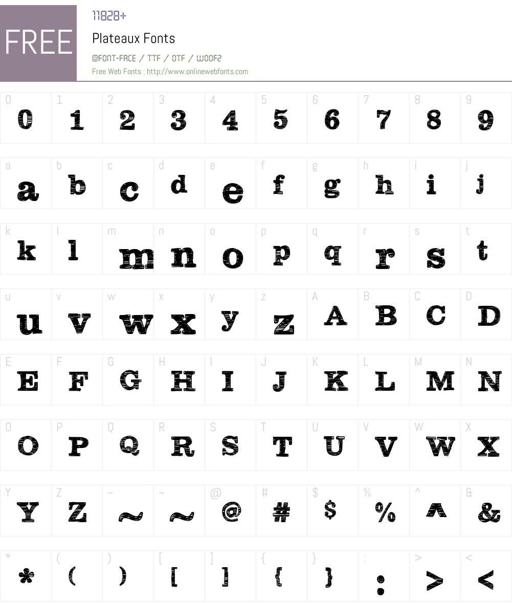 Plateaux Font Screenshots