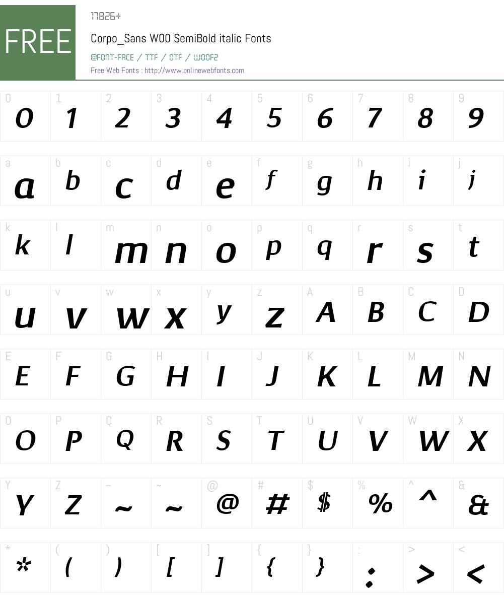 Corpo_SansW00-SemiBditalic Font Screenshots