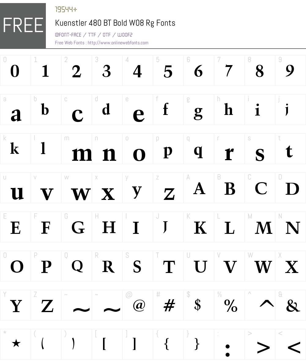 Kuenstler 480 BT Font Screenshots