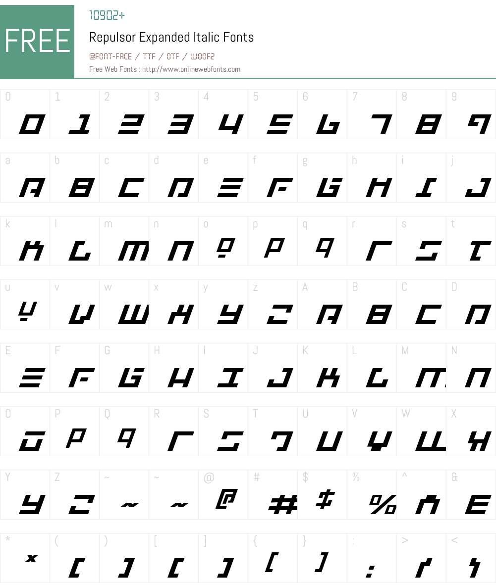 Repulsor Expanded Italic Font Screenshots