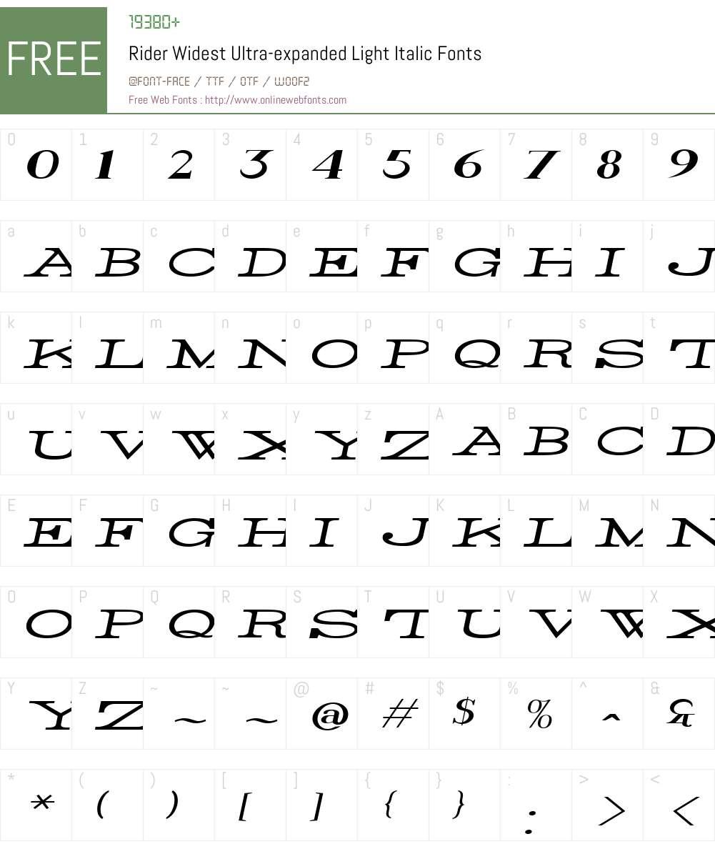 Rider Widest Font Screenshots