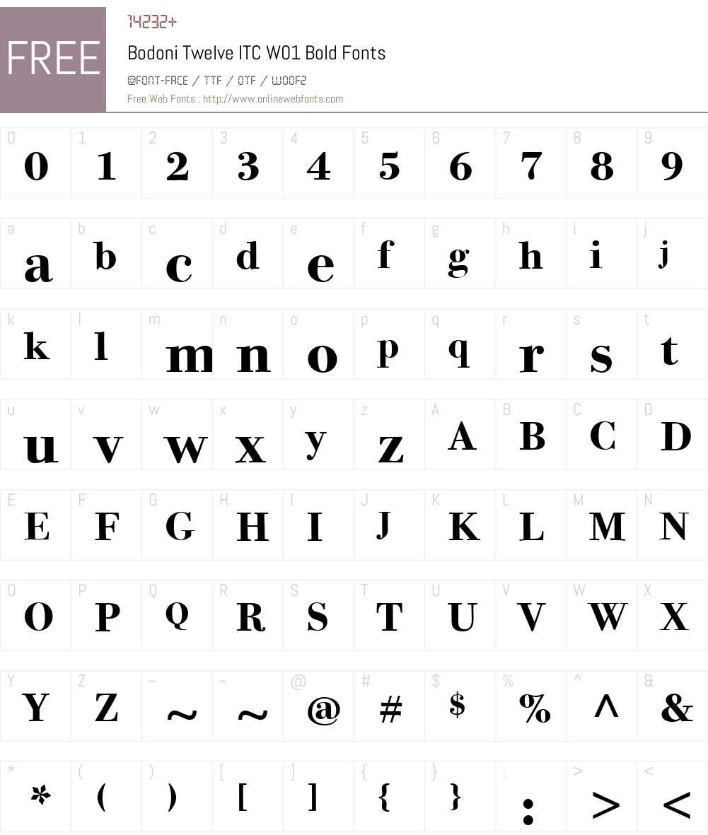 BodoniTwelveITCW01-Bold Font Screenshots