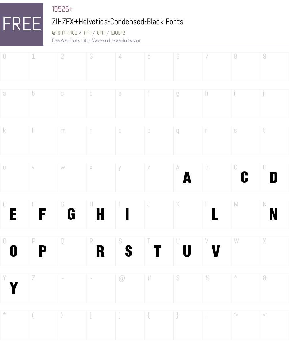 ZIHZFX+Helvetica-Condensed-Black Font Screenshots