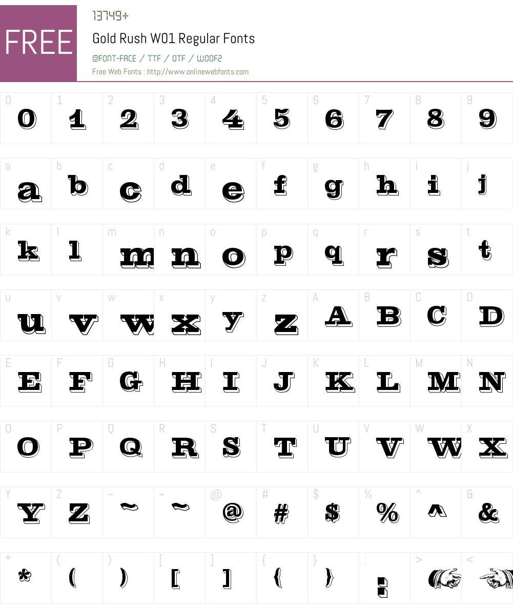 GoldRushW01-Regular Font Screenshots