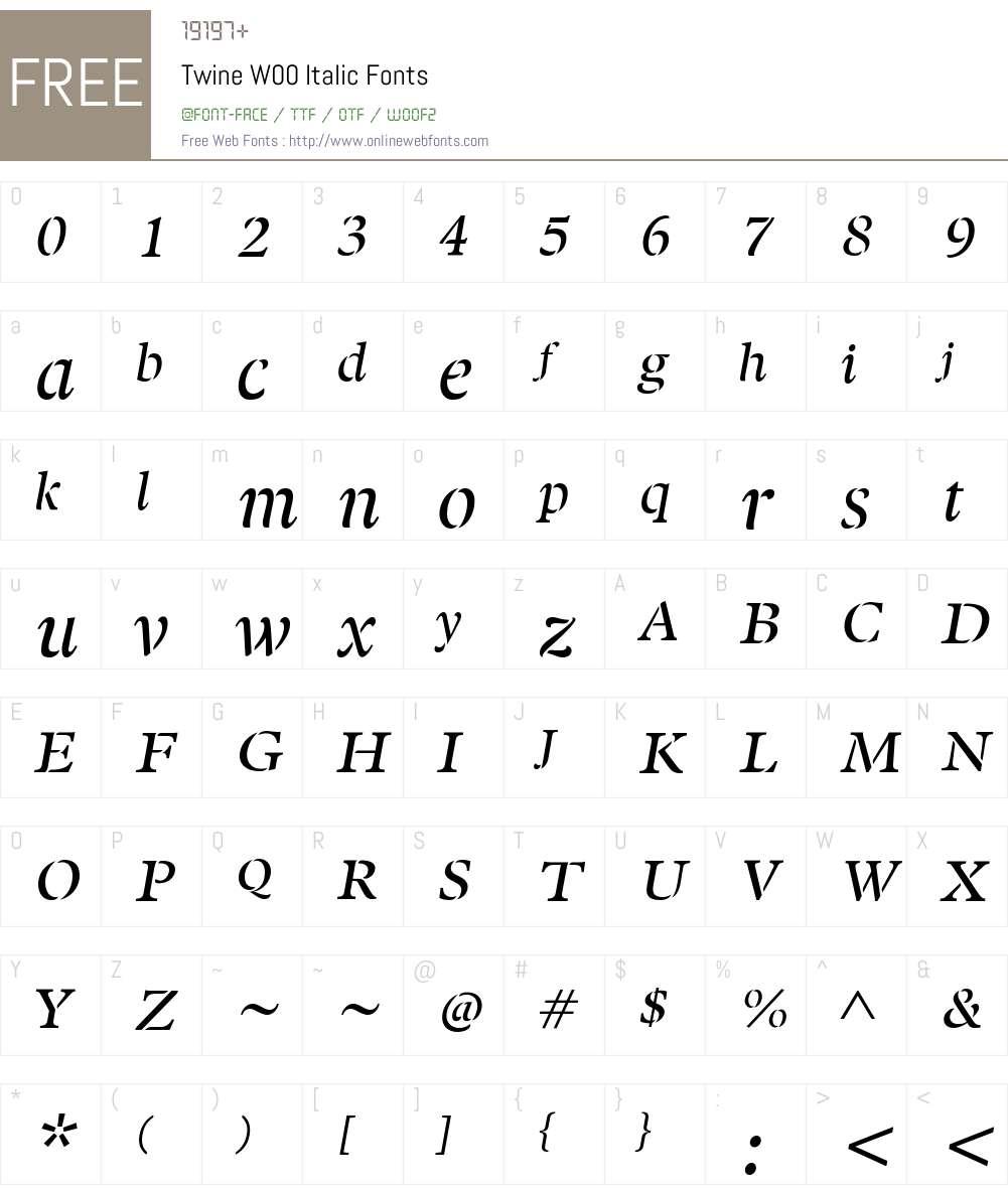 TwineW00-Italic Font Screenshots