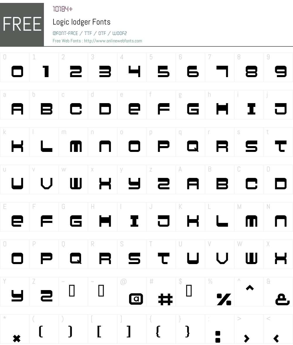 Logic lodger Font Screenshots