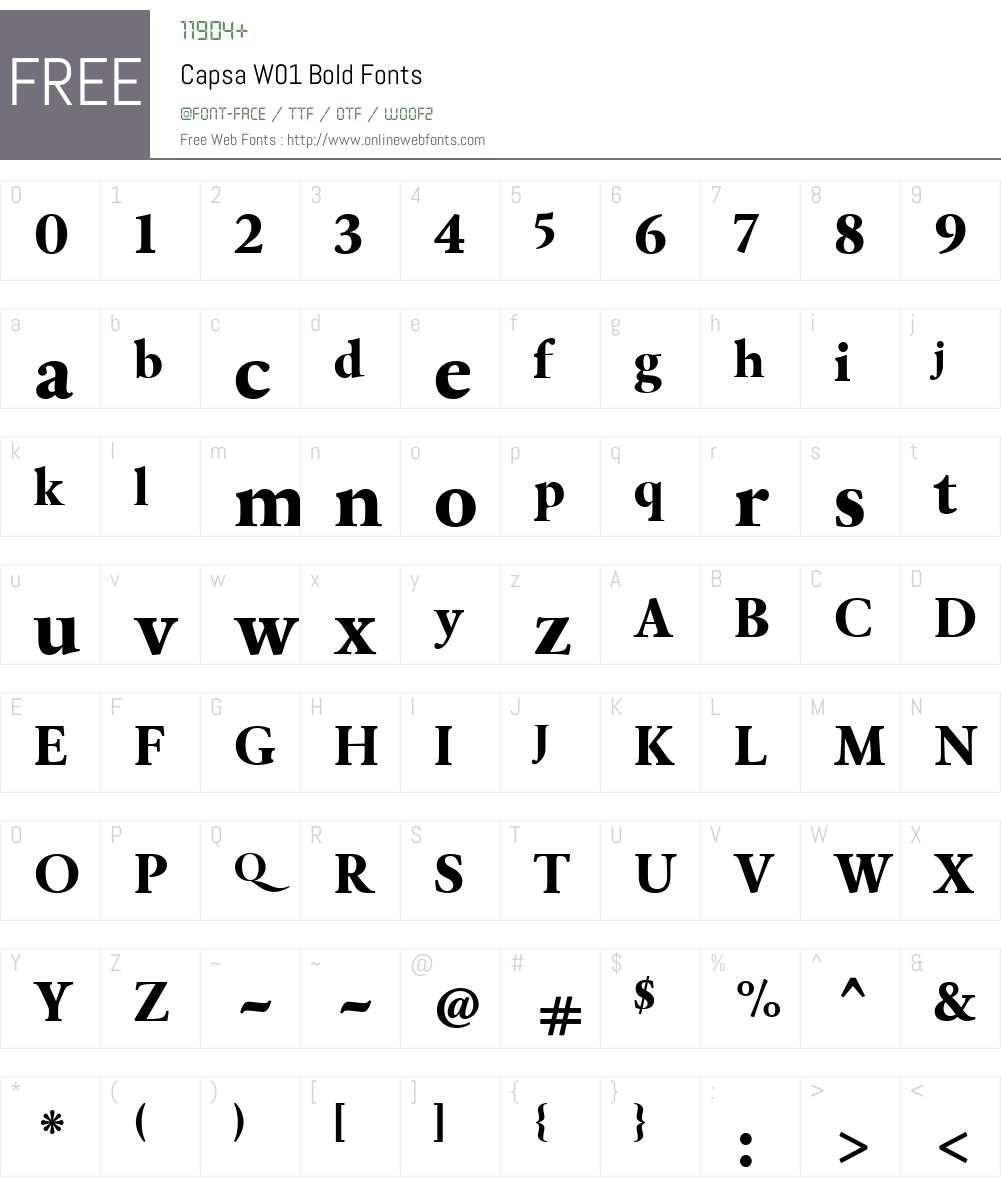 CapsaW01-Bold Font Screenshots