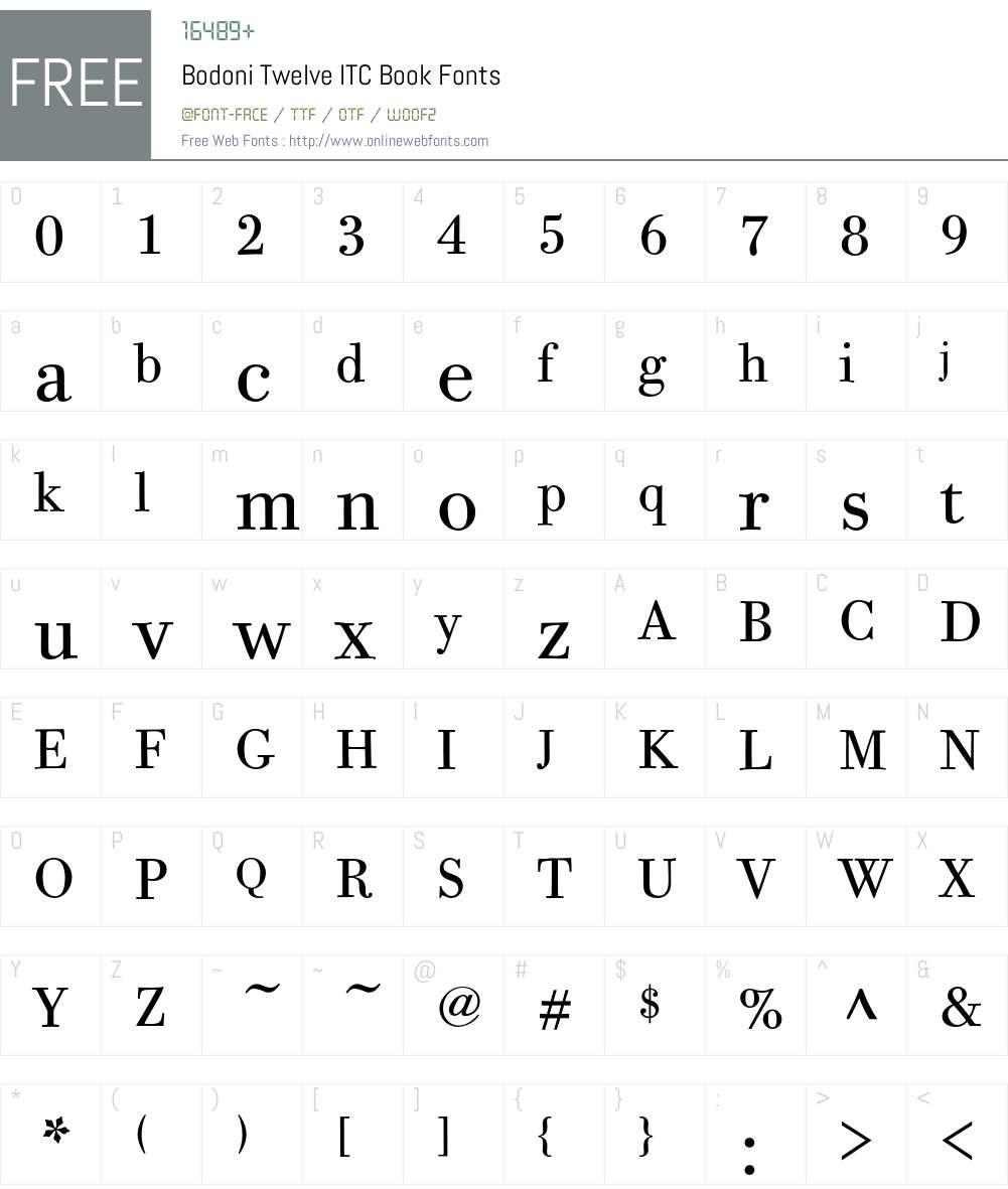 Bodoni Twelve ITC Font Screenshots