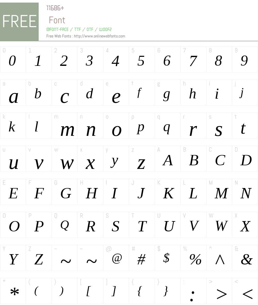 AscenderSerifW01-Italic Font Screenshots