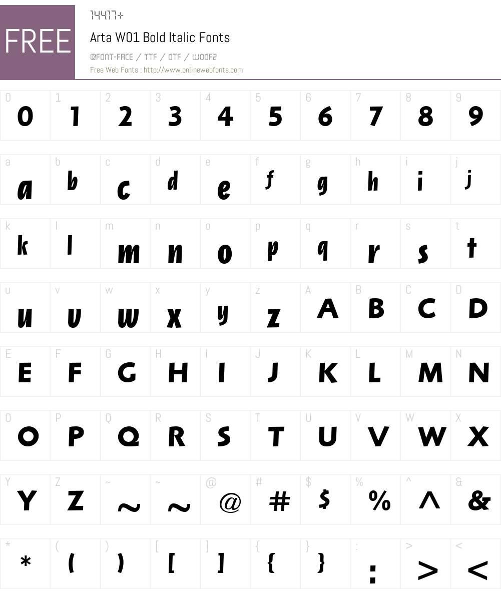 ArtaW01-BoldItalic Font Screenshots
