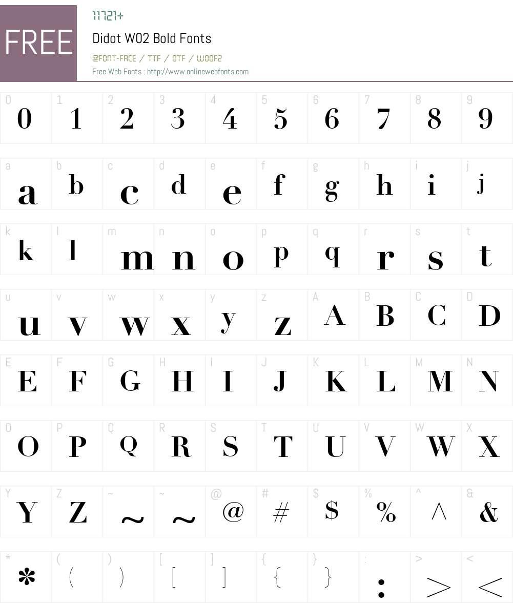 DidotW02-Bold Font Screenshots