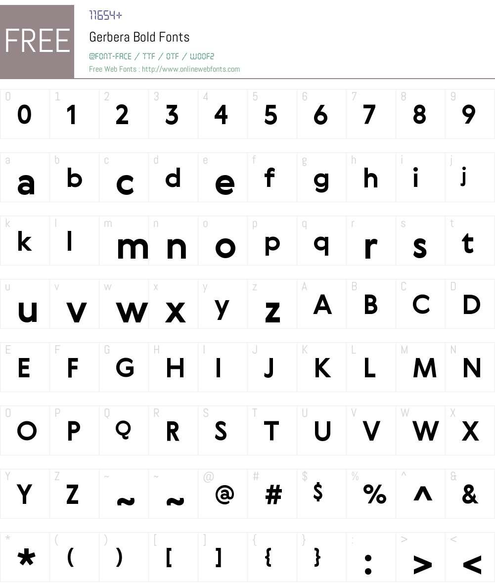 Gerbera-Bold Font Screenshots