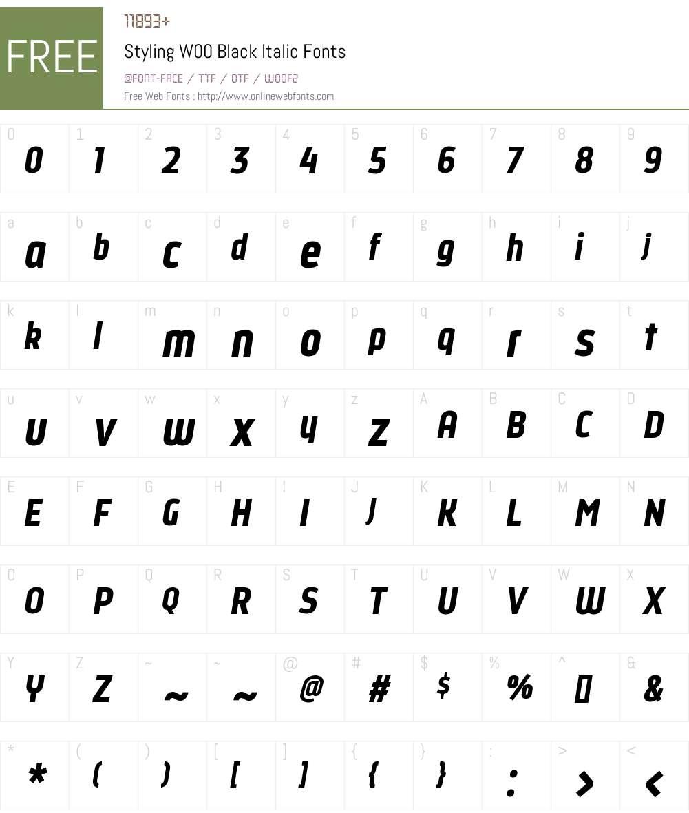 StylingW00-BlackItalic Font Screenshots