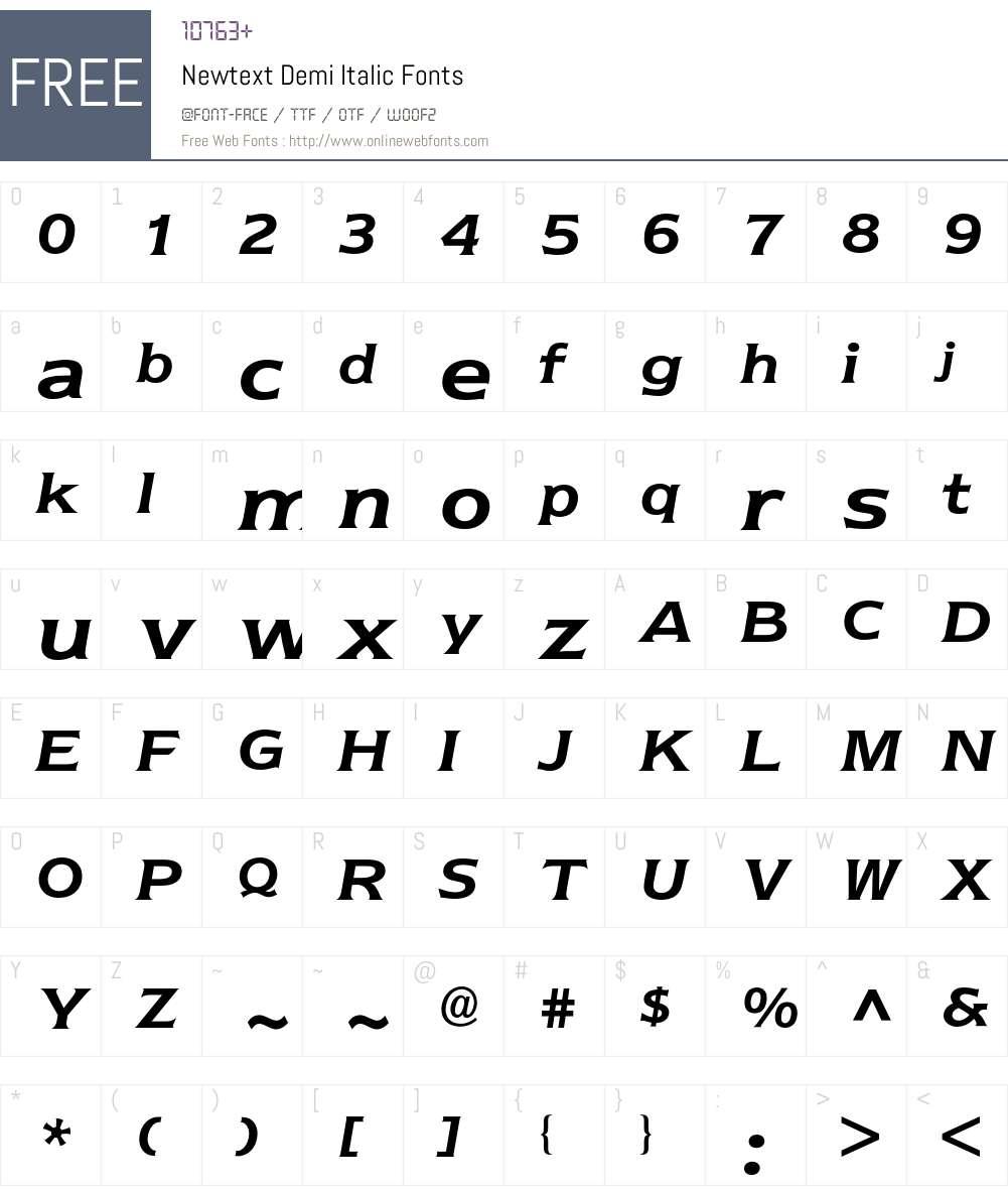 Newtext BQ Font Screenshots