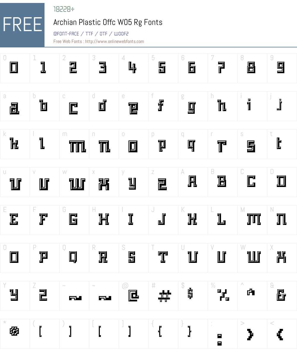 ArchianPlasticOffcW05-Rg Font Screenshots