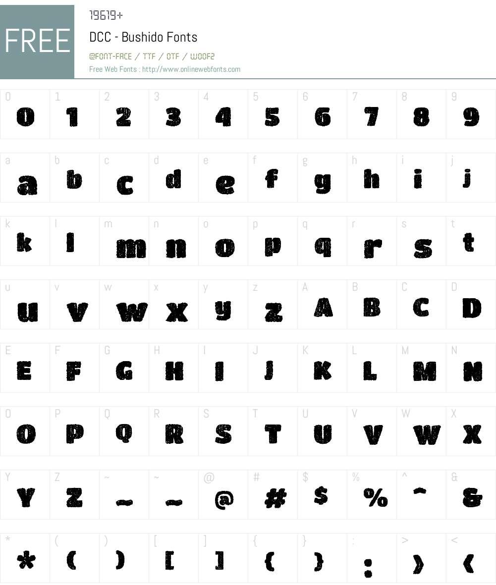 DCC - Bushido Font Screenshots