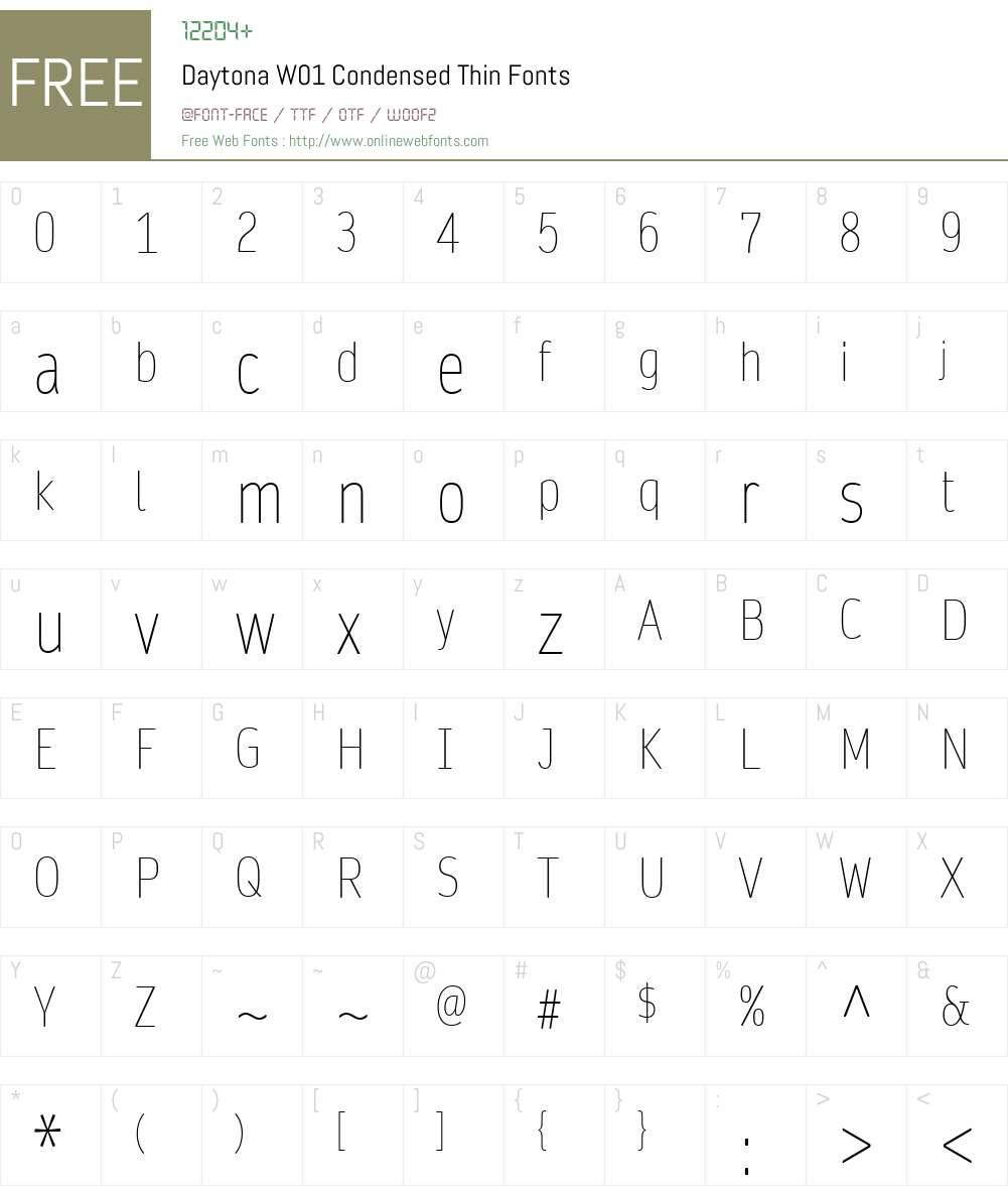 DaytonaW01-CondensedThin Font Screenshots