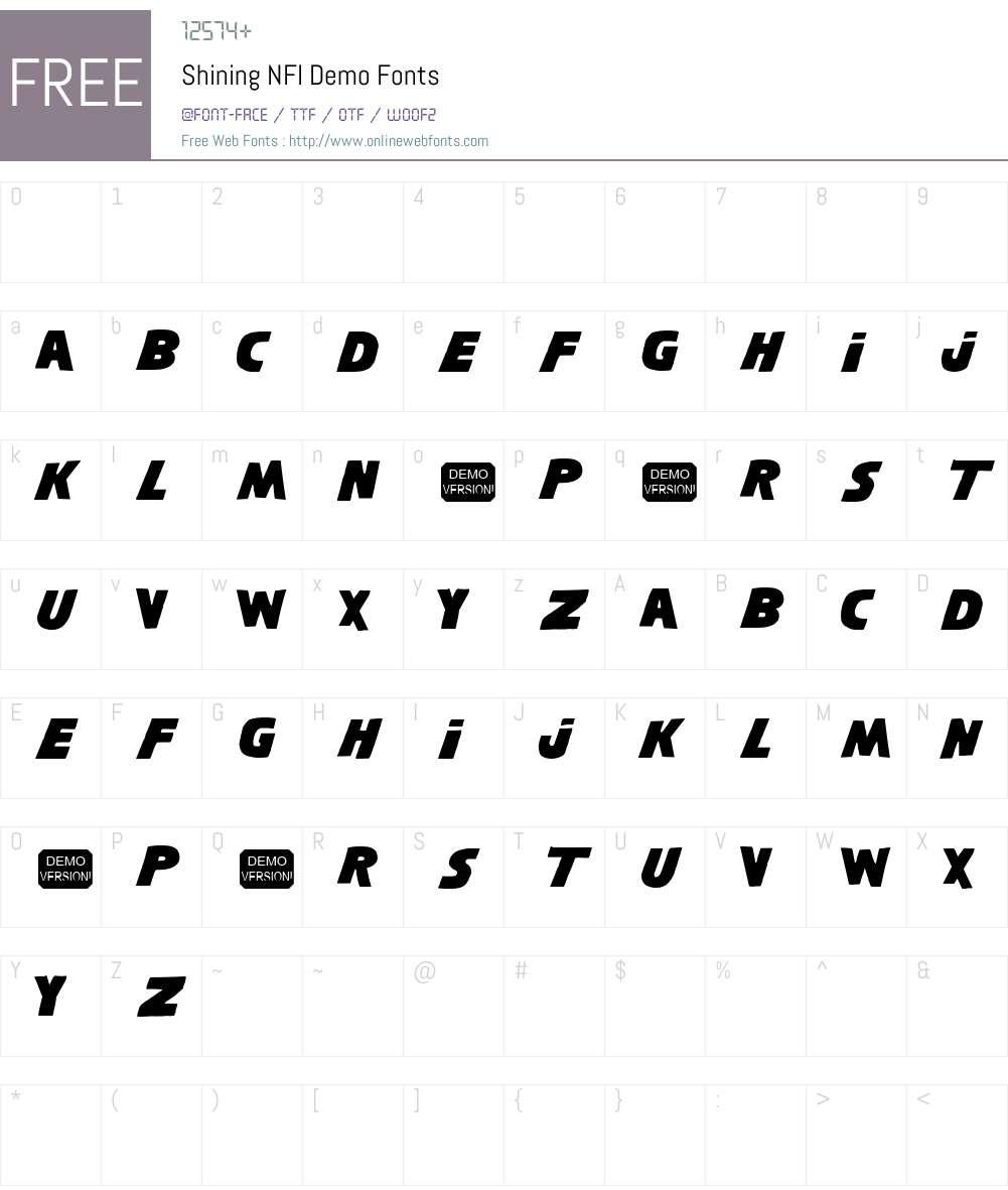 Shining NFI Demo Font Screenshots
